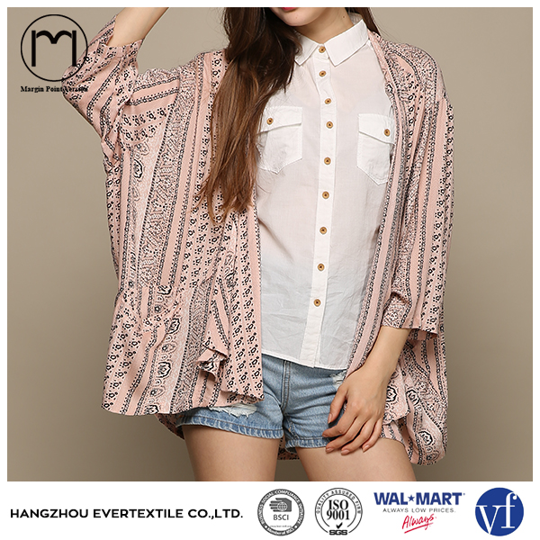 2017 wholesale Autumn women long sleeve chiffon print cardigan jacket