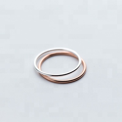 Smooth Sterling <strong>Silver</strong> And Rose Gold Unique Thin Ring Fashion