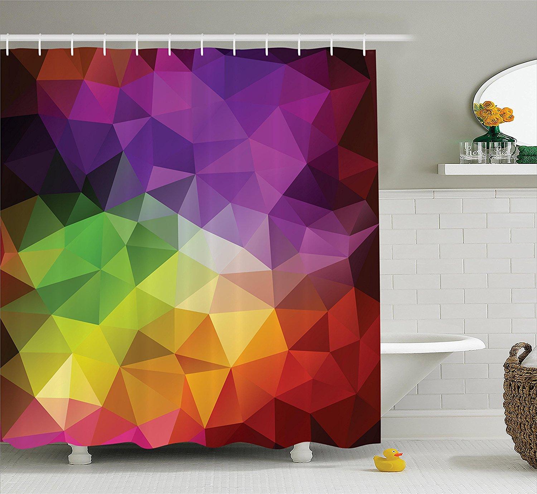 Bathroom Accessories Bath Rainbow Shower Curtain Colorful