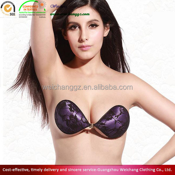 Hot Sexy Girl Purple Lace Front Open Self Adhesive Invisible Bra ...