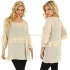 2017 Long sleeve christmas tunics wholesale new model designs casual western style beige ruffle blouses tunic top