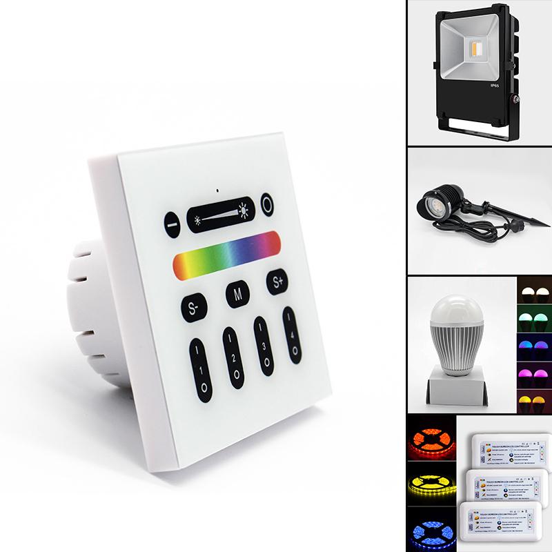 Mi Light 4 Zone Led Lights Dimmer Switch RGB / RGBW Smart Remote LED Panel  Controller for indoors use 9 programs, View remote led controller /rgbw