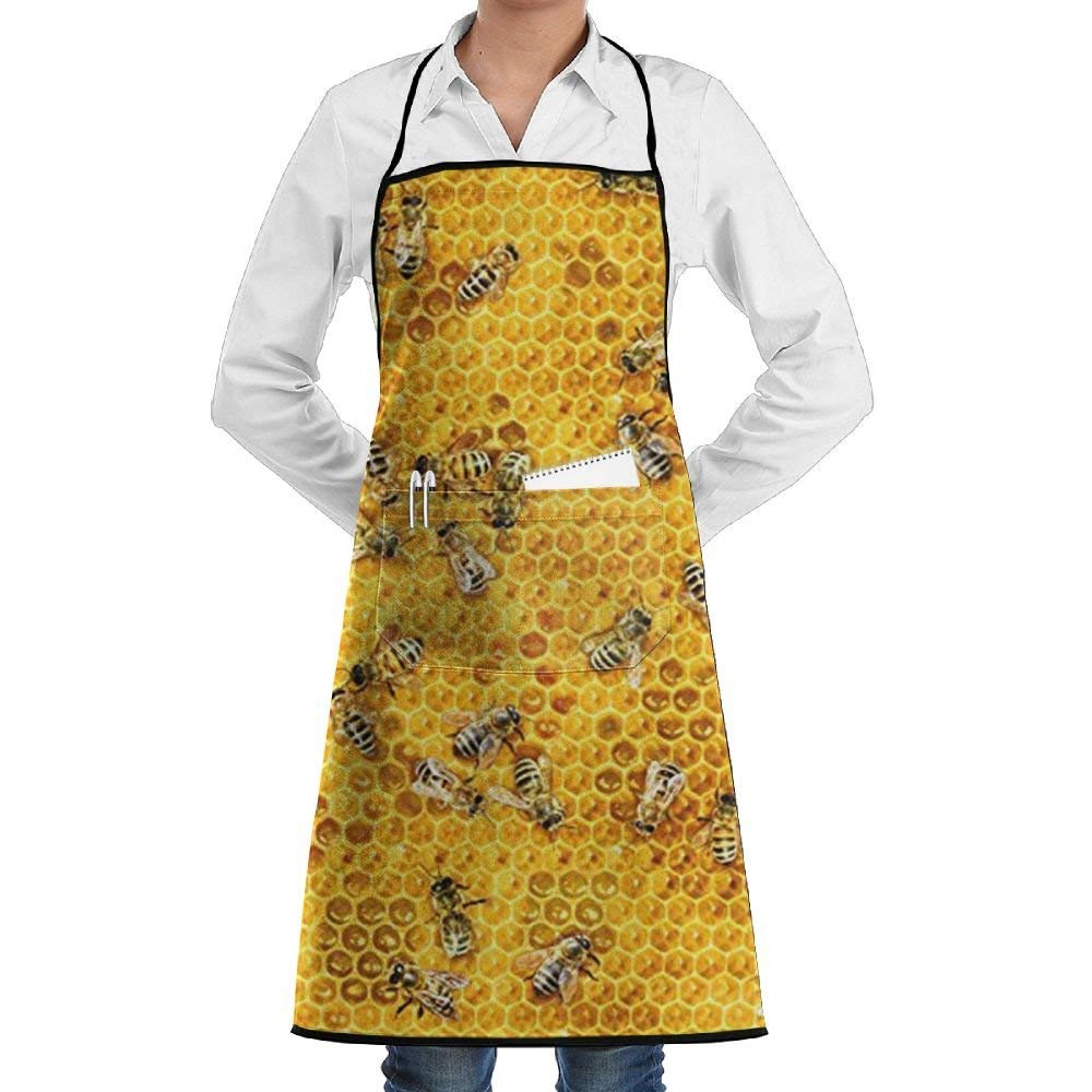 Honey Bees On A Honey Combs Adjustable Apron With Pockets,Black 100% Polyester Twill Seam,Cooking Kitchen Restaurant Uniform Aprons For Men Women