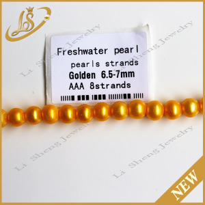 Freshwater pearl strands rice golden yellow natural pearls wholesale prices