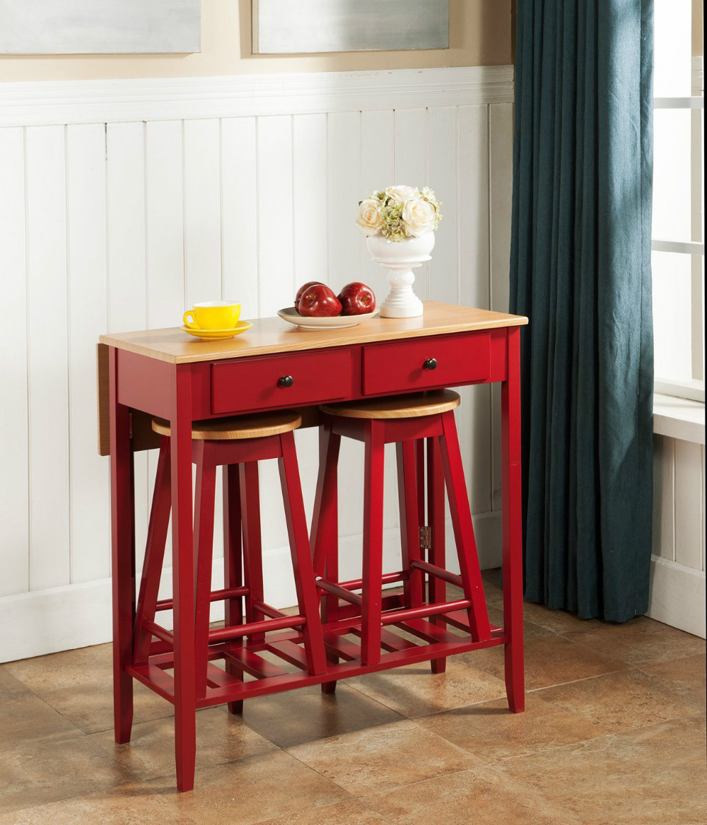counter height breakfast bar set wood drop down table  2