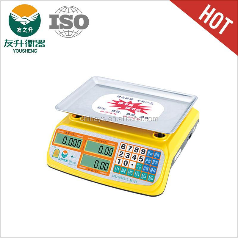 Yellow Color ABS Materials Heavy Duty Body Electric Scale 40kg,480g Stainless Iron Plate,Big Font LED Display