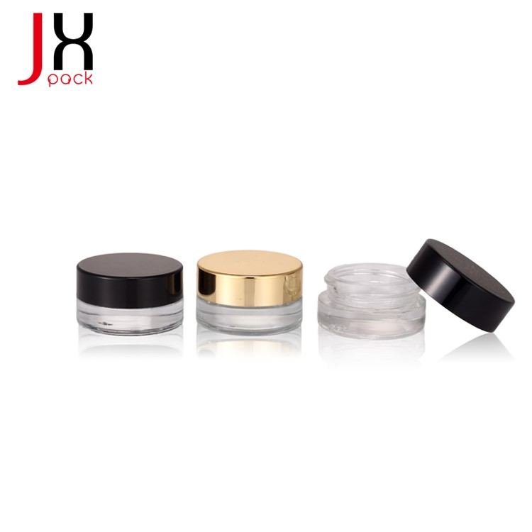 Wholesale mini 3g white frosted clear cream jar cosmetic with black lid