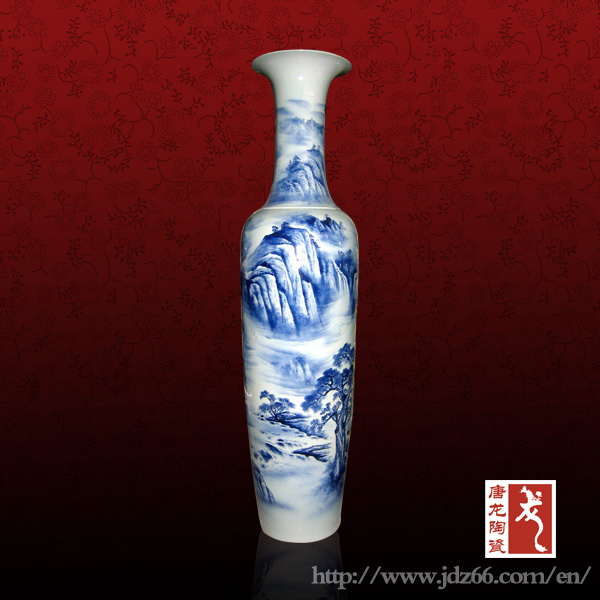 1 8m Chinese Decorative White And Blue Home Goods Floor Vases