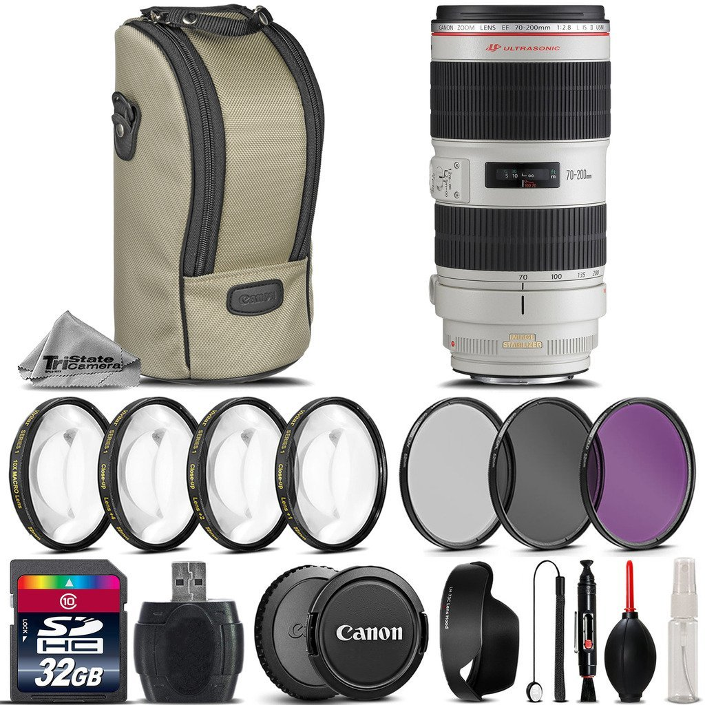 Canon EF 70-200mm f/2.8L IS II USM Lens + 4PC Macro Kit + UV-CPL-FLD Filters + 32GB Class 10 High-Speed Memory Card + Card Reader + Lens Cap Holder - International Version
