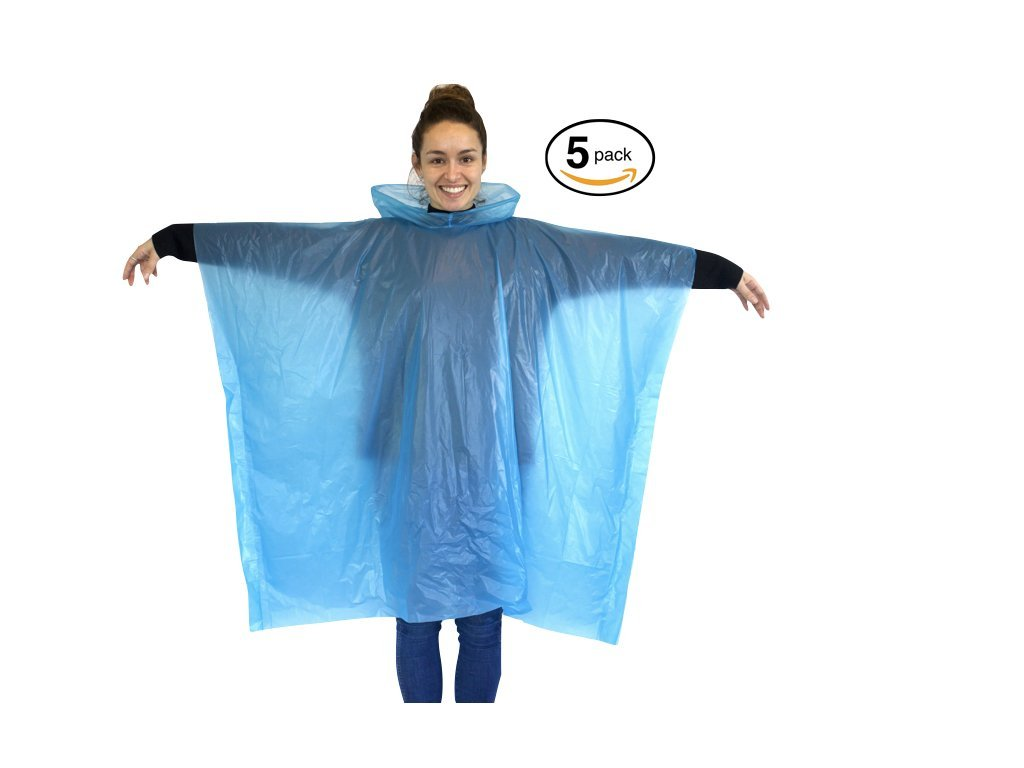 Eco-friendly Emergency Poncho by Jungle Proof | Disposable Waterproof Packable Rain Ponchos | 5-pack & 10-pack