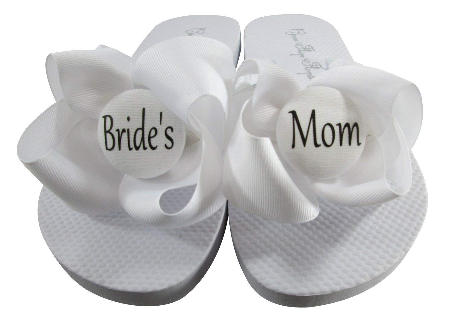 598cae100 All White with Black Lettering Bride s Mom Flip Flops for cute wedding  shower gift