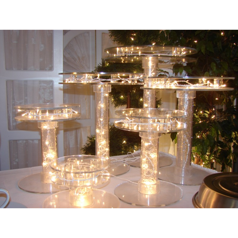 Customize available lighted crystal clear acrylic wedding cake stand