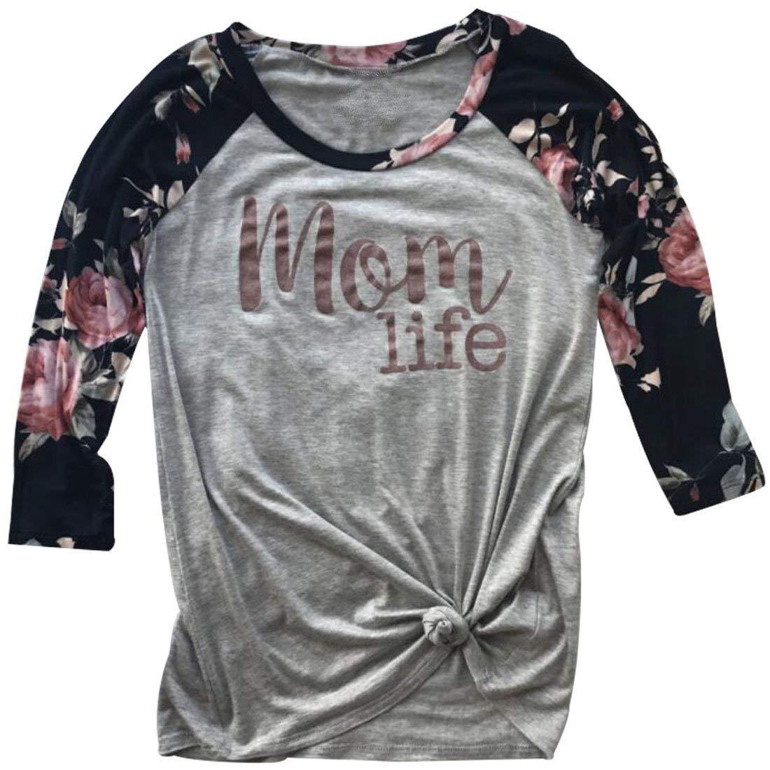FAYALEQ Mom Life Floral Printed 3/4-Sleeve Raglan T-Shirt Women Casual O-Neck Top Blouse