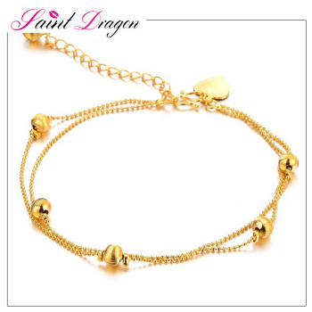 gold com adjustable quot bracelet anklet dp beads womens extender women s foot ankle chain plated double amazon
