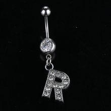 26 стилей A to R Модный кулон с надписью серебряный кристалл пупок пупка Кольцо пирсинг ювелирные изделия Прямая поставка(Китай)