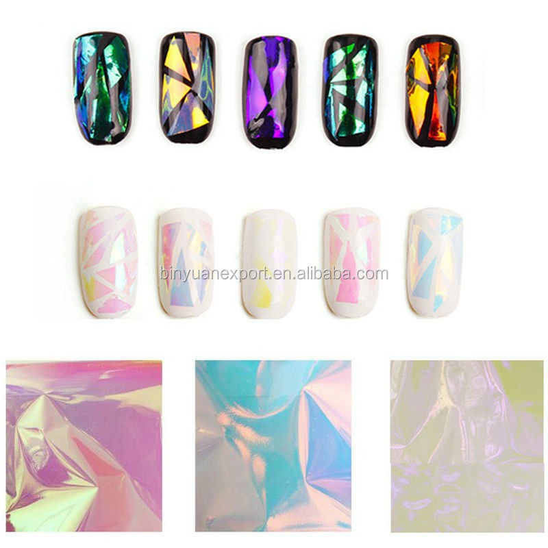 BIN 2019 DIY Beauty Foil Stained Glass Nail Art