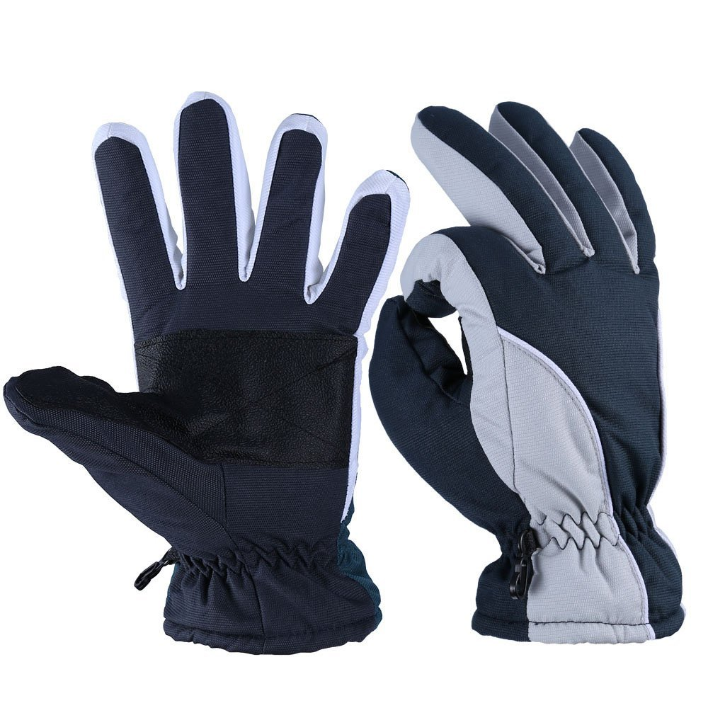 OZERO Winter Gloves, -20°F Cold Proof Thermal Ski Glove for Men & Women - Reinforced PU Palm and Insulated Cotton Insert - Water Resistant & Windproof - Denim-Frost/Berry-Red/Wine-Cream