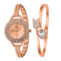 Xinge Luxury Brand Women Bracelet Watch Gold Rhinestone Bangle And Bracelet Set Women Fashion Watch