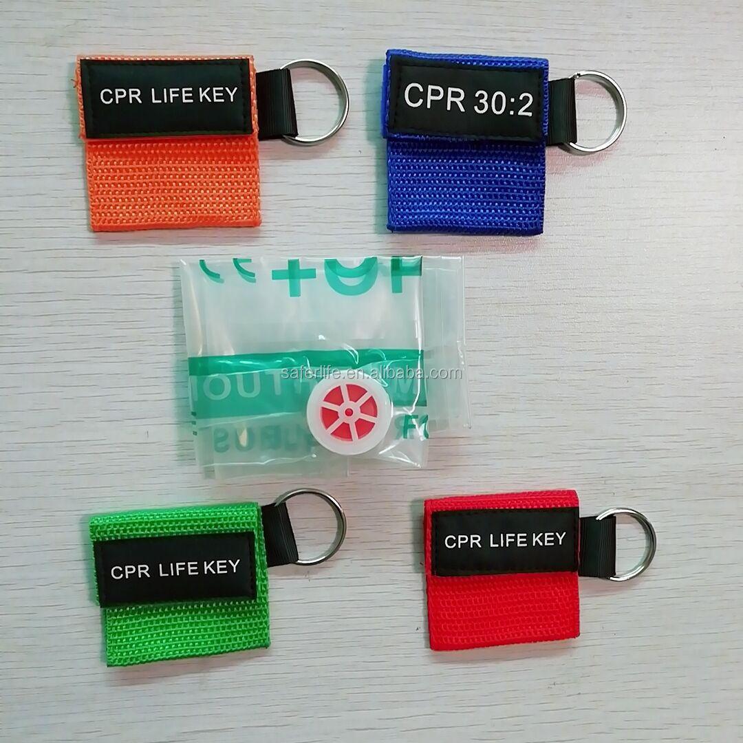 CPR M/áscara Anillo de llavero Kit de primeros auxilios Rescate Escudos de cara con barrera de respiraci/ón de v/álvula unidireccional para entrenamiento de primeros auxilios o AED