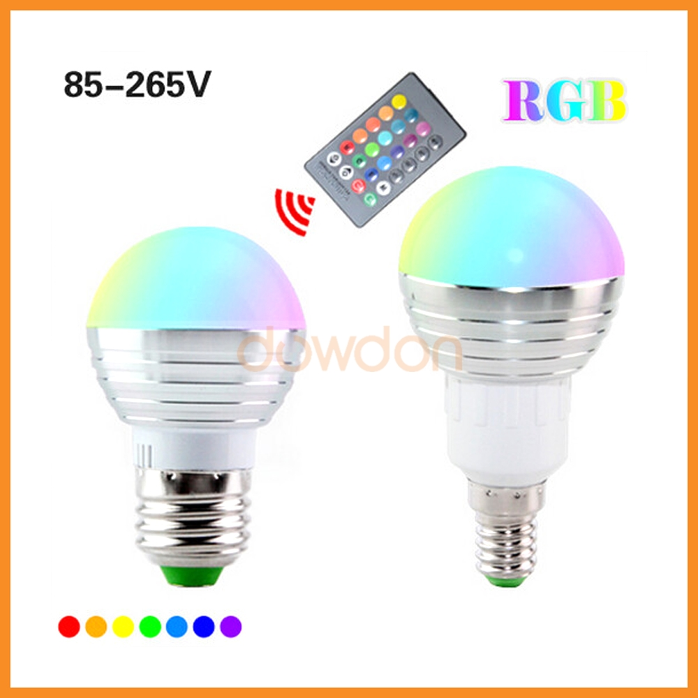 24 Keys Remote Control 16 Color 9 Mode RGB 3W 5W E27 E14 Spot Led Bulb