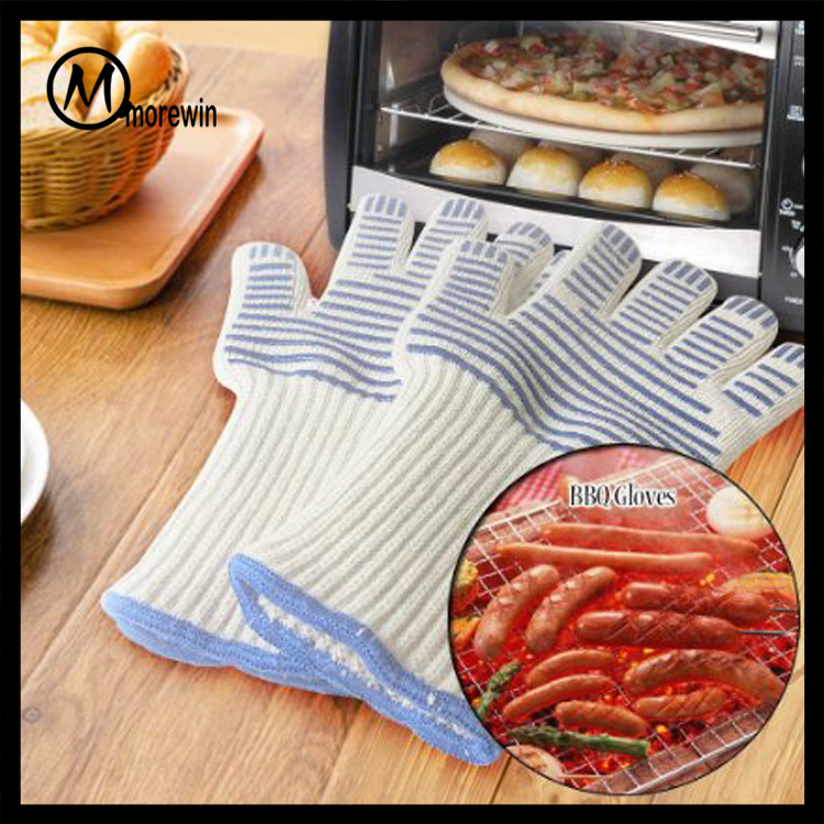 2017 Morewin 35cm BBQ Oven Heat Resistant Aramid Anti Fire Gloves For Food Industry