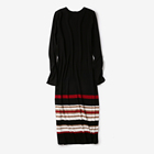 Ladies' Causal Knitted Rib Color Stripe Long Dress