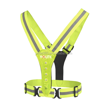 EN13356 road safety reflective vests reflective led flash vest for cycling climbing running led running reflective vest