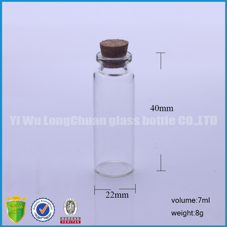 Trend products large glass wishing bottles with syntheric corks 7ml