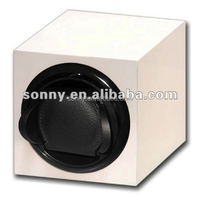 Single Automatic White Wooden Watch Winder with Mabuchi Motor in Stock