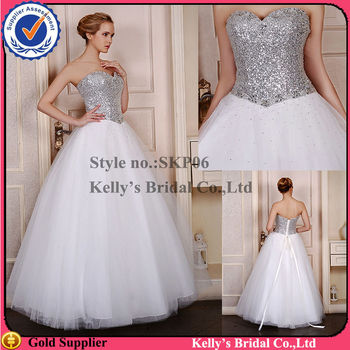 Skp06 Silver Sequins Bodice Tulle Skirt No Train Wedding Dress
