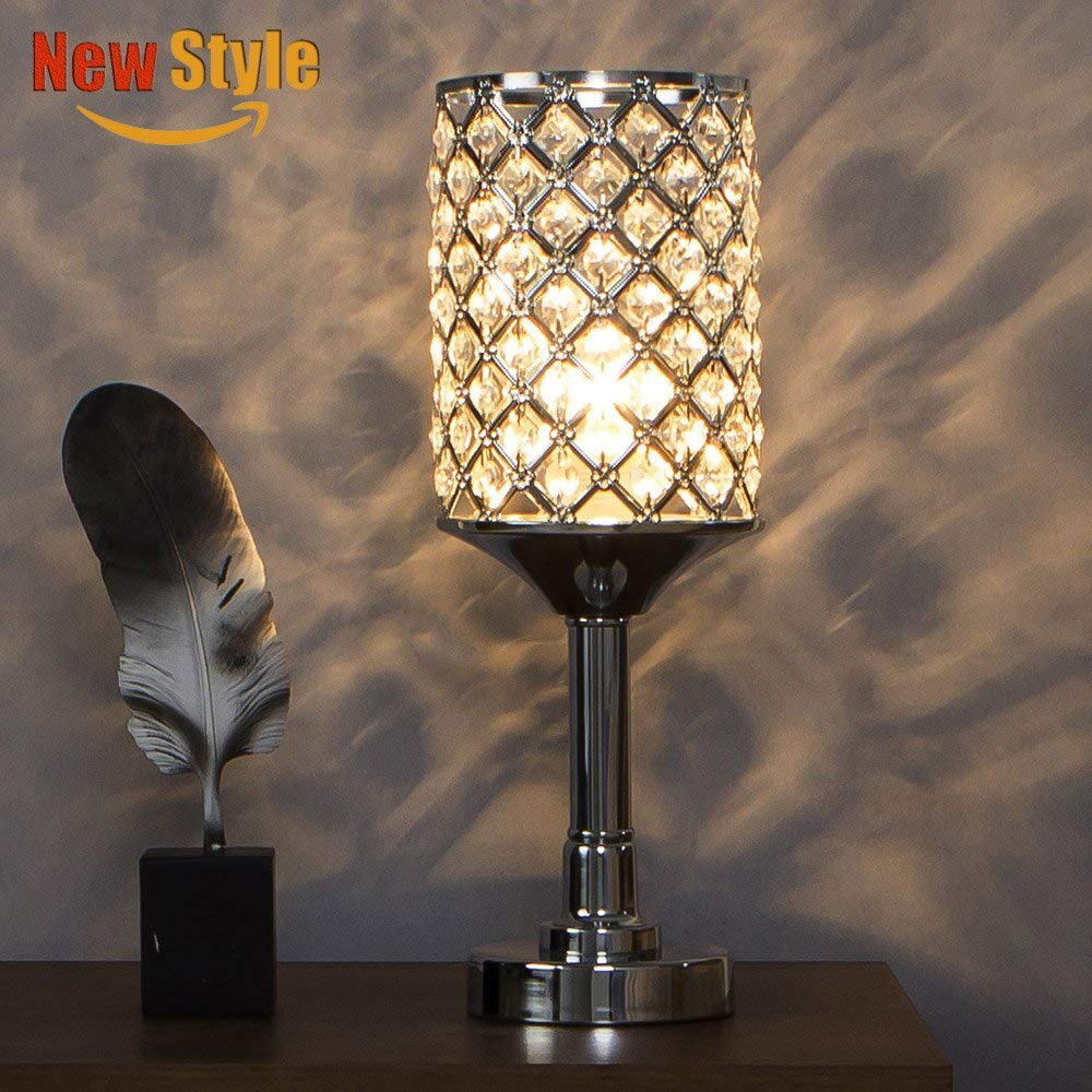 SOTTAE Fashionable Elegant Style Clear Crystal Lamp Living Room Bedroom Bedside Table Lamp, Chrome Finish Shade