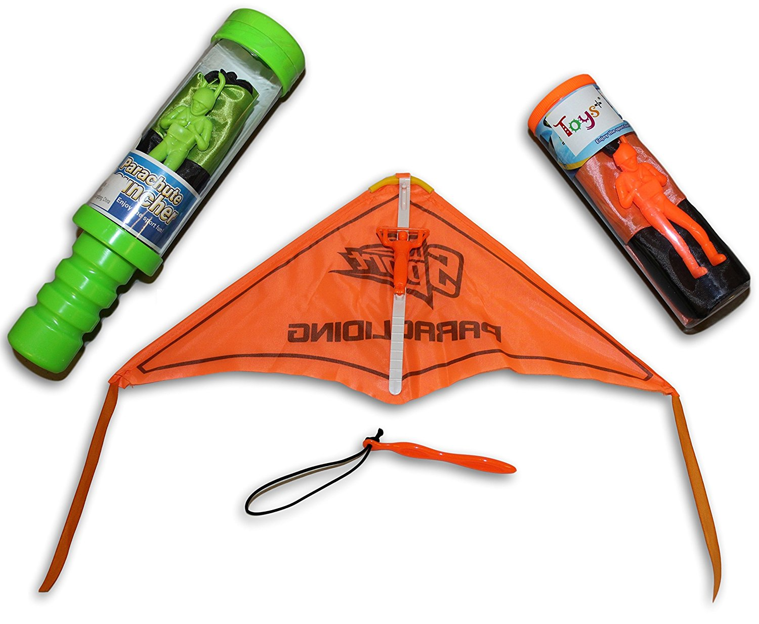 Toys+ Skydiver Parachute Men and Glider 3 Piece Set Hang Glider (Colors and Styles May Vary)