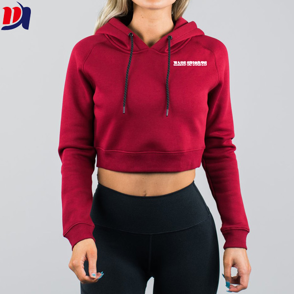 Dark Red Gym Sports High Quality Womens Cropped Hoodie With Custom Design