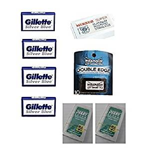 3085d7aa434 Get Quotations · Merkur Safety Razor Blades 10 ct. + Silver Blues Blades