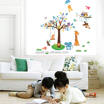 Aw3021 Family Tree Wall Sticker Cartoon Animals Decals For Kids Room