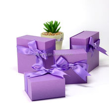 Luxury fashion custom purple jewellery ribbon boxes cases for women