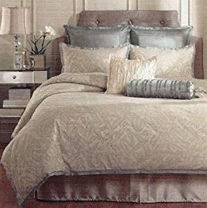 Get Quotations Raymond Waites Brush Creek Blue Tan Jacquard 4 Piece King Comforter Set