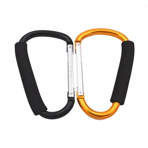 16cm haul helper aluminum baby stroller hook metal mommy hook big carabiner with sponge grip