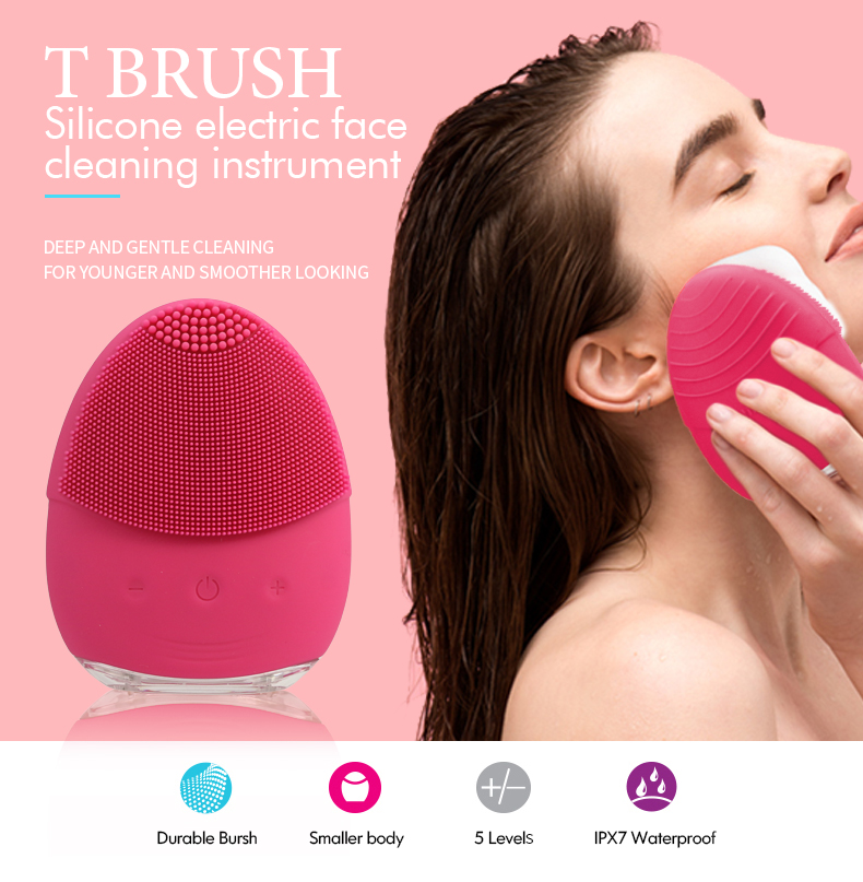 Featured multi-function waterproof 2 in 1 facial cleansing brush with USB charging