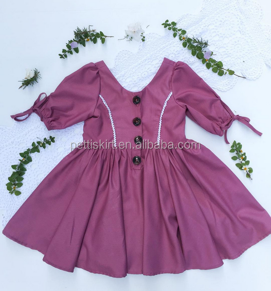 Fall And Spring Long Sleeves Girls Clothes Pink Linen Design Baby Girl Party Dresses