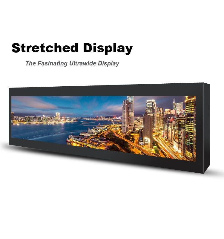 Commercial grade HD BAR display 500 NIT advertising video player stretched lcd display