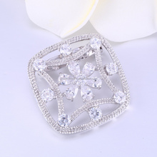 Elegant square brooch for mother,charm hand make metalic brooch for sale,white cz brooches for mens suits