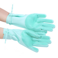 Kitchen Accessories Cleaning Tools Silicon Rubber Dish Glove Washing Scrubber For Kitchen