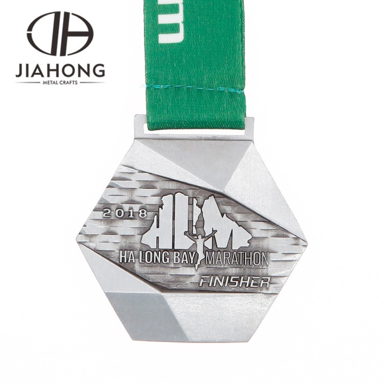 Custom 3d hexagon usa marathon finisher metal medal