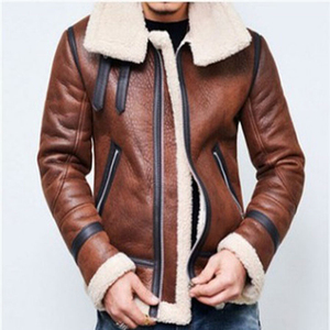 Warm Winter Fashion Vintage Faux Leather Bomber Coat Fur Lined Customized High Quality sheepskin jacket men