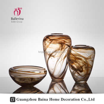Ballerina Handmade Modern Glass Wide Mouth vase Mouth Blown Glass vases Home Decor Wholesale