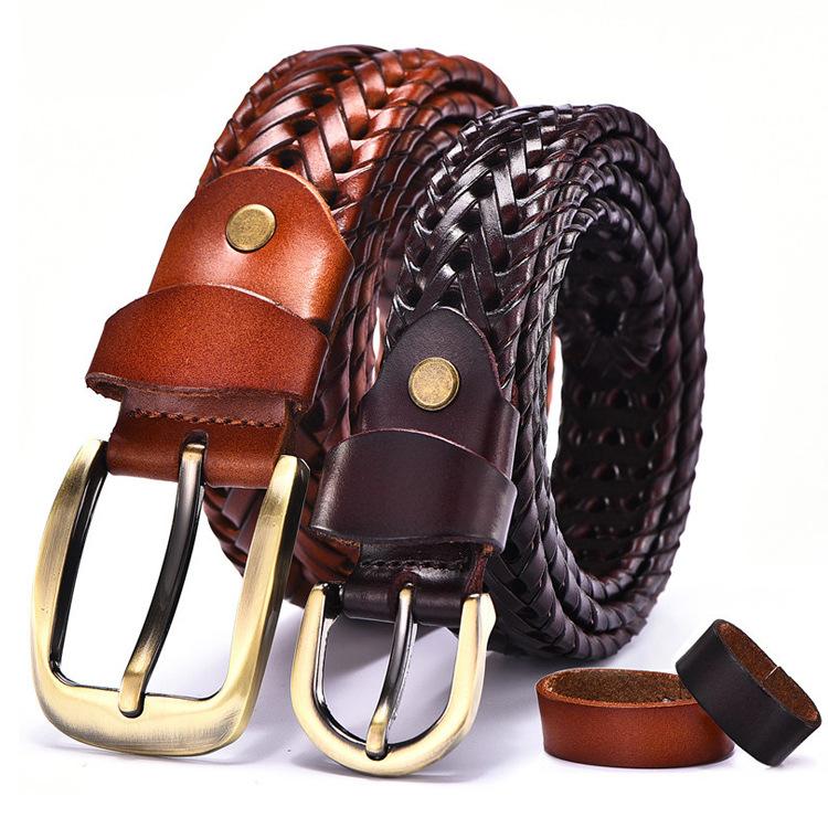 Wholesale Genuine Belt with Bronze Buckle Braided Leather Belt