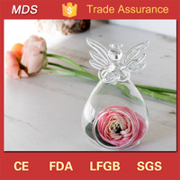Clear high quality handblown glass angel vase for home decoration