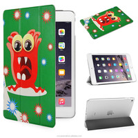 Scare Monster design with PU Leather Case for Apple iPad mini 4 Ultra Slim case with green color
