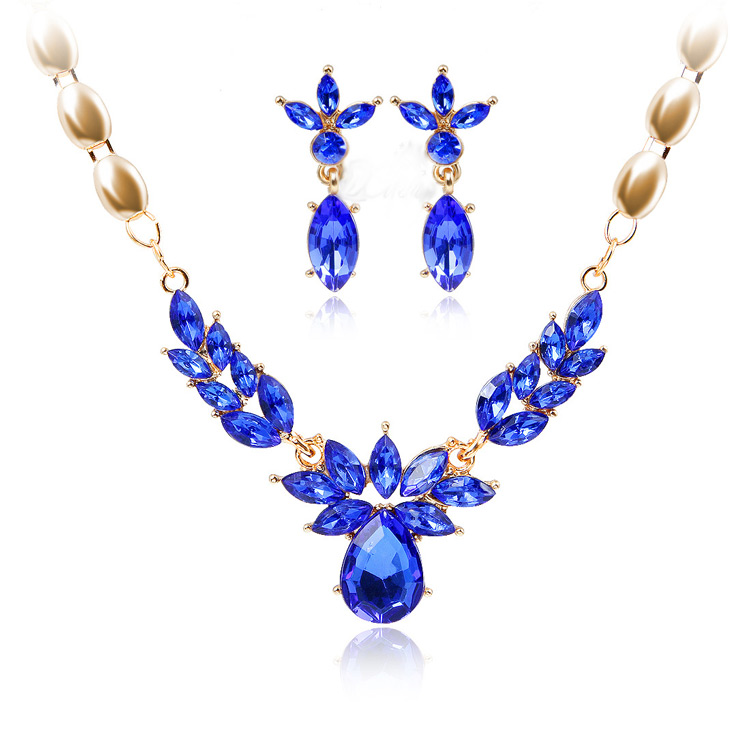 blue luster cz jewelry wedding gold necklace set designs
